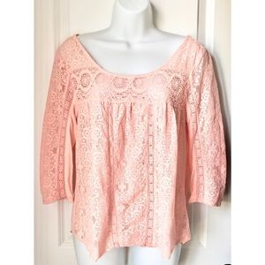 American Eagle Blush Pink Lace 3/4 Sleeve Blouse